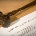 will contest concept - last will and testament form with gavel
