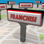 franchise signs on map illustration